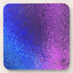Shades of Blue and Purple Abstract Cork Coaster