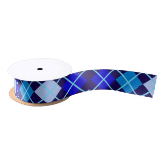 "Shades of Blue Argyle 1.5"" Wide Satin Ribbon"