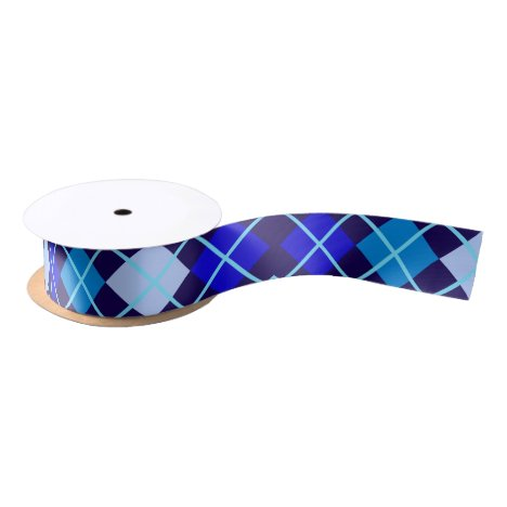 "Shades of Blue Argyle 1.5"" Wide Satin Ribbon"