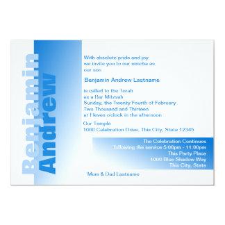 Shades of Blue Bar Mitzvah 5x7 Paper Invitation Card