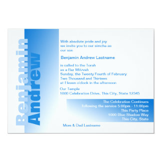 Shades of Blue Bar Mitzvah 5x7 Paper Invitation Card