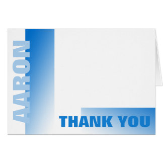 Shades of Blue Bar Mitzvah Thank You Stationery Note Card