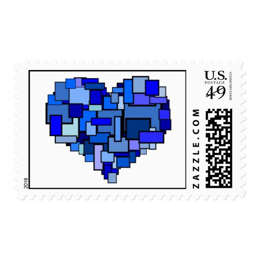 Shades of Blue Block Heart Postage