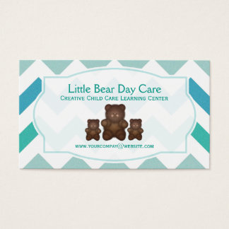 Shades Of Blue Chevron Little Bear Business Cards