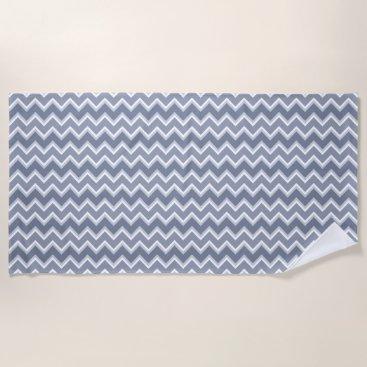 Beach Themed Shades of Blue Chevron Striped Beach Towel