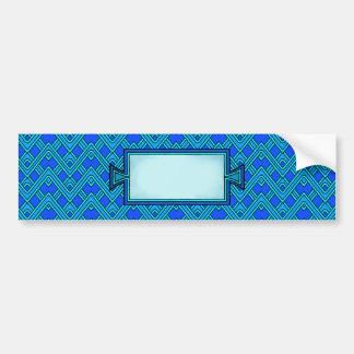 Shades of Blue Chevron Zig Zag Stripe Pattern Bumper Sticker