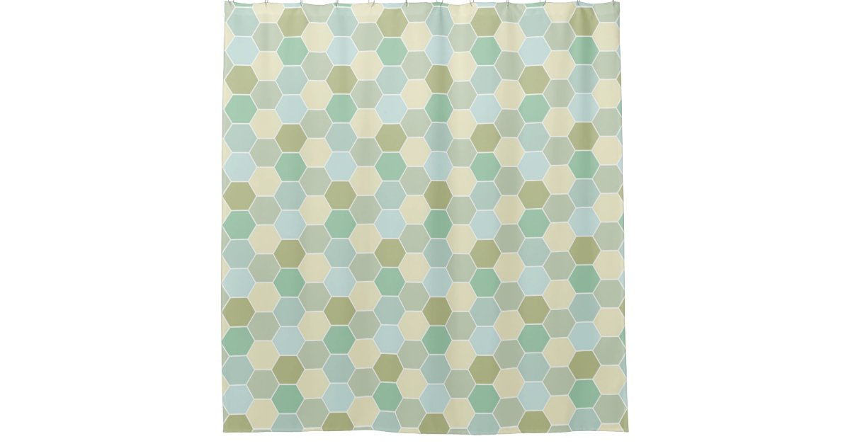 Shades Of Blue Cream And Green Honeycomb Pattern Shower Curtain Zazzle