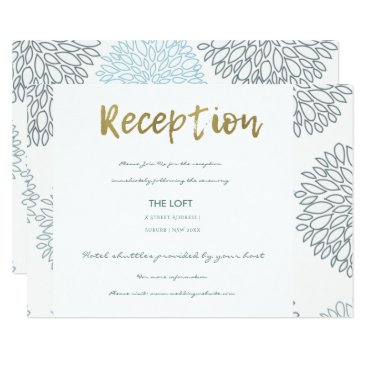 Beach Themed SHADES OF BLUE DAHLIA FLORAL GOLD TEXT RECEPTION CARD