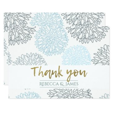 Beach Themed SHADES OF BLUE DAHLIA FLORAL GOLD TEXT THANK YOU CARD