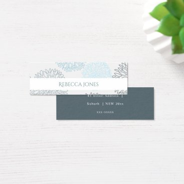 Beach Themed SHADES OF BLUE DAHLIA FLORAL MONOGRAM ADDRESS MINI BUSINESS CARD