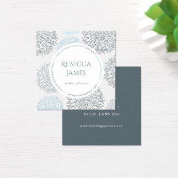 Beach Themed SHADES OF BLUE DAHLIA FLORAL MONOGRAM Wedding Square Business Card