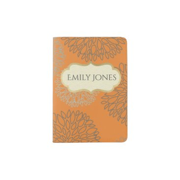 Beach Themed SHADES OF BLUE DAHLIA FLORAL orange rust MONOGRAM Passport Holder