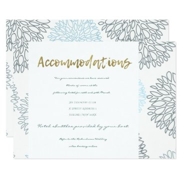 Beach Themed SHADES OF BLUE DAHLIA FLORAL PATTERN ACCOMMODATION CARD