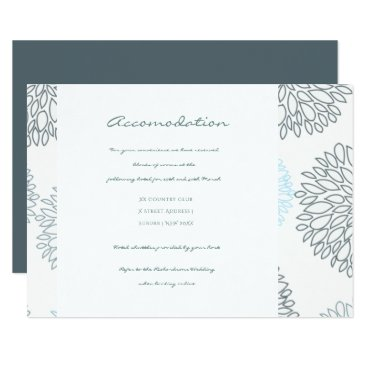Beach Themed SHADES OF BLUE DAHLIA FLORAL PATTERN ACCOMODATION CARD