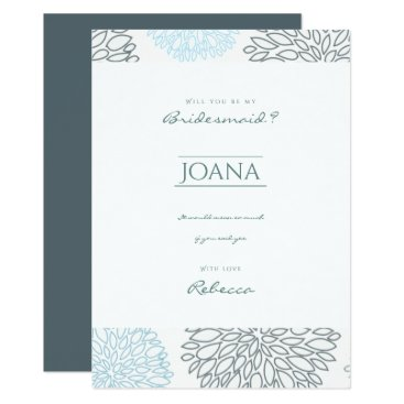 Beach Themed SHADES OF BLUE DAHLIA FLORAL PATTERN Bridemaid Card