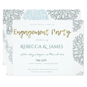 Beach Themed SHADES OF BLUE DAHLIA FLORAL PATTERN ENGAGEMENT CARD