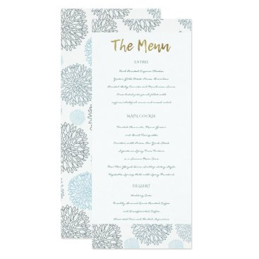 Beach Themed SHADES OF BLUE DAHLIA FLORAL PATTERN GOLD MENU CARD