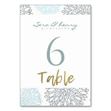 Beach Themed SHADES OF BLUE DAHLIA FLORAL PATTERN GOLD TABLE CARD