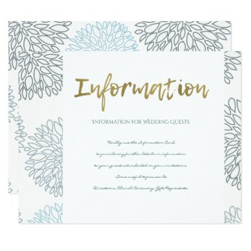 Beach Themed SHADES OF BLUE DAHLIA FLORAL PATTERN INFORMATION CARD