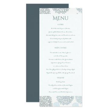 Beach Themed SHADES OF BLUE DAHLIA FLORAL PATTERN MENU CARD