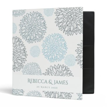 Beach Themed SHADES OF BLUE DAHLIA FLORAL PATTERN MONOGRAM 3 RING BINDER