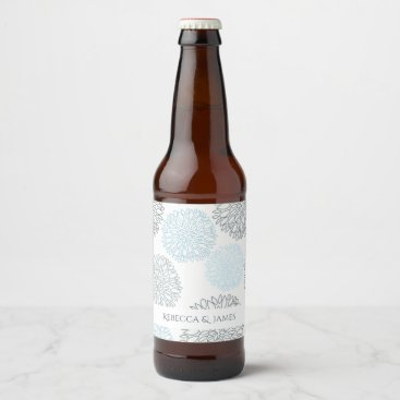 Beach Themed SHADES OF BLUE DAHLIA FLORAL PATTERN MONOGRAM BEER BOTTLE LABEL