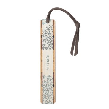 Beach Themed SHADES OF BLUE DAHLIA FLORAL PATTERN MONOGRAM BOOKMARK
