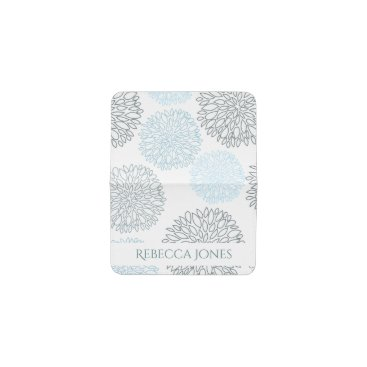Beach Themed SHADES OF BLUE DAHLIA FLORAL PATTERN MONOGRAM BUSINESS CARD HOLDER