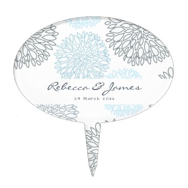Beach Themed SHADES OF BLUE DAHLIA FLORAL PATTERN MONOGRAM CAKE TOPPER