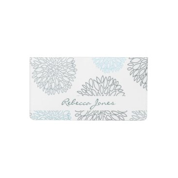 Beach Themed SHADES OF BLUE DAHLIA FLORAL PATTERN MONOGRAM CHECKBOOK COVER