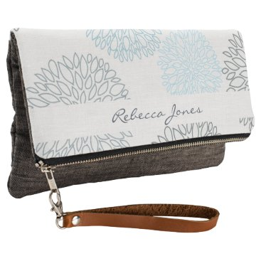 Beach Themed SHADES OF BLUE DAHLIA FLORAL PATTERN MONOGRAM CLUTCH