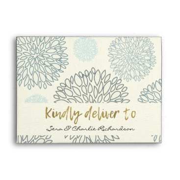 Beach Themed SHADES OF BLUE DAHLIA FLORAL PATTERN MONOGRAM ENVELOPE