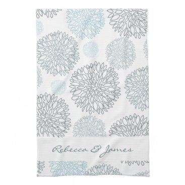 Beach Themed SHADES OF BLUE DAHLIA FLORAL PATTERN MONOGRAM HAND TOWELS