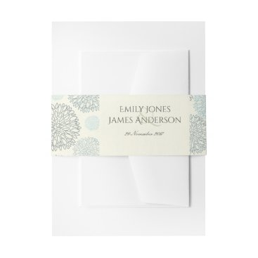 Beach Themed SHADES OF BLUE DAHLIA FLORAL PATTERN MONOGRAM INVITATION BELLY BAND