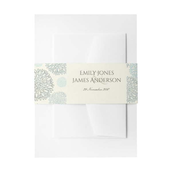 SHADES OF BLUE DAHLIA FLORAL PATTERN MONOGRAM INVITATION BELLY BAND