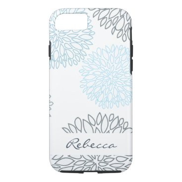 Beach Themed SHADES OF BLUE DAHLIA FLORAL PATTERN MONOGRAM iPhone 7 CASE