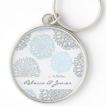 Beach Themed SHADES OF BLUE DAHLIA FLORAL PATTERN MONOGRAM KEYCHAIN