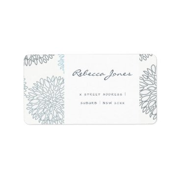 Beach Themed SHADES OF BLUE DAHLIA FLORAL PATTERN MONOGRAM LABEL