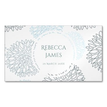 Beach Themed SHADES OF BLUE DAHLIA FLORAL PATTERN MONOGRAM MAGNETIC BUSINESS CARD