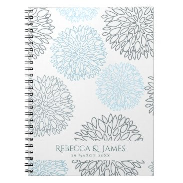 Beach Themed SHADES OF BLUE DAHLIA FLORAL PATTERN MONOGRAM NOTEBOOK