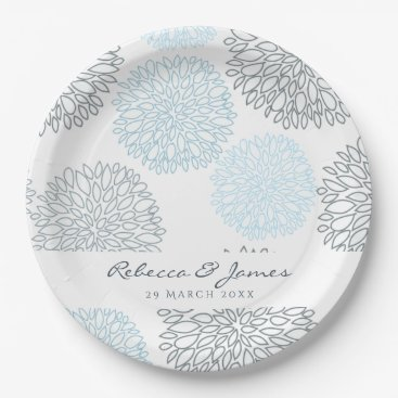 Beach Themed SHADES OF BLUE DAHLIA FLORAL PATTERN MONOGRAM PAPER PLATE