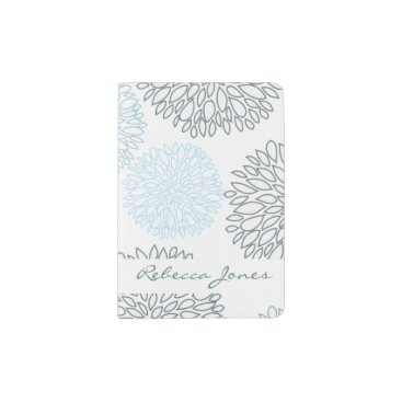 Beach Themed SHADES OF BLUE DAHLIA FLORAL PATTERN MONOGRAM PASSPORT HOLDER
