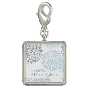 Beach Themed SHADES OF BLUE DAHLIA FLORAL PATTERN MONOGRAM PHOTO CHARM