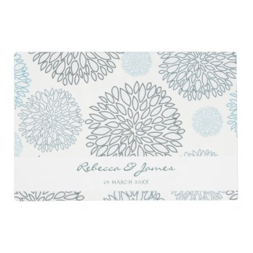 Beach Themed SHADES OF BLUE DAHLIA FLORAL PATTERN MONOGRAM PLACEMAT