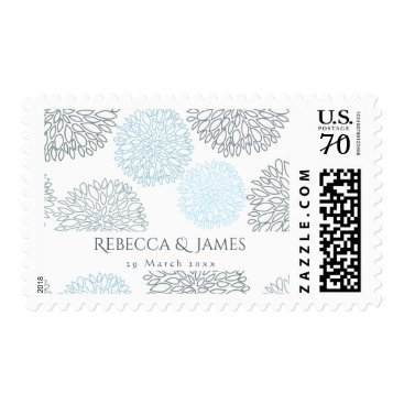 Beach Themed SHADES OF BLUE DAHLIA FLORAL PATTERN MONOGRAM POSTAGE