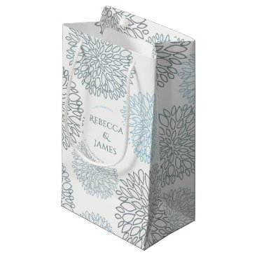 Beach Themed SHADES OF BLUE DAHLIA FLORAL PATTERN MONOGRAM SMALL GIFT BAG