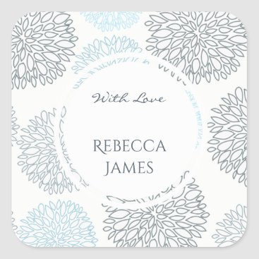 Beach Themed SHADES OF BLUE DAHLIA FLORAL PATTERN MONOGRAM SQUARE STICKER