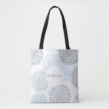 Beach Themed SHADES OF BLUE DAHLIA FLORAL PATTERN MONOGRAM TOTE BAG