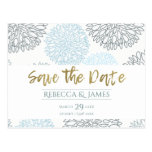 SHADES OF BLUE DAHLIA FLORAL PATTERN SAVE THE DATE POSTCARD