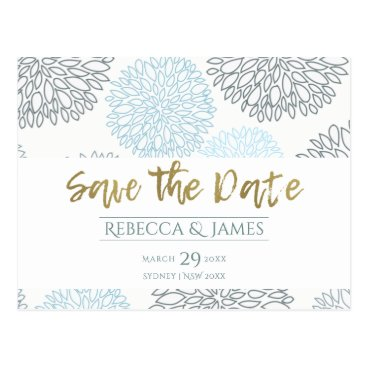 Beach Themed SHADES OF BLUE DAHLIA FLORAL PATTERN SAVE THE DATE POSTCARD
